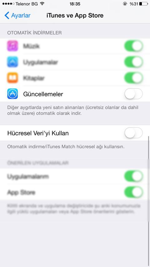 iPhone Otomatik Uygulama Güncelleme Kapatma