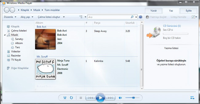 Windows Media Player ile Track Müzik CD'si Nasıl Yapılır